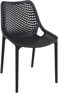 Alice - S, Sedia in polipropilene per esterni, sedia impilabile in plastica per giardino