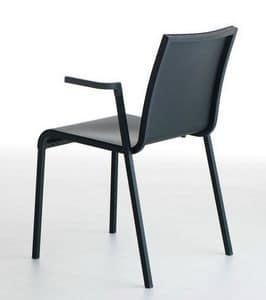 Persia P/PU, Sedia in plastica con braccioli, impilabile