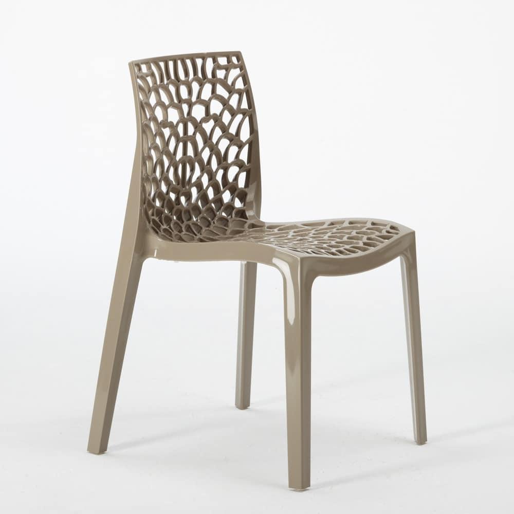 Sedia interno esterno polipropilene Gruvyer – S6316, Sedia moderna realizzata in polipropilene lucido, impilabile