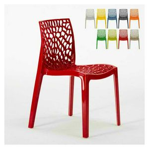Sedia interno esterno polipropilene Gruvyer � S6316, Sedia moderna realizzata in polipropilene lucido, impilabile