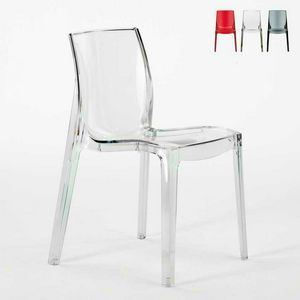 Sedia trasparente casa bar FEMME FATALE - S6317TR, Sedia ignifuga, realizzata in plastica prima scelta, impilabile