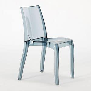 Sedia policarbonato trasparente Cristal Light � S6326, Sedia moderna, realizzata in policarbonato, per uso contract
