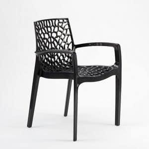 Sedia esterno giardino impilabile Gruvyer Arm � S6626B, Sedia impilabile con braccioli, in plastica lucida, per interni e esterni