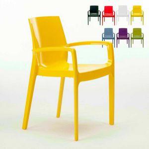 Sedia con braccioli impilabile Cream � S6617, Sedia con braccioli in polipropilene, robusta