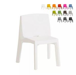 Sedia design moderno Slide Q4 per casa locali e giardino SD Q40085, Sedia impilabile in plastica