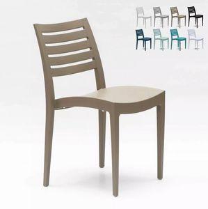 Sedia impilabile in polipropilene per giardino e bar Grand Soleil Firenze S6227, Sedia in plastica per esterno