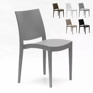 Sedia in polipropilene per cucina bar e ristorante Grand Soleil Trieste S6225, Sedia impilabile in polipropilene