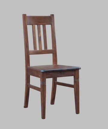 188, Sedia rustica in legno di faggio, imbottita
