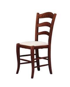 208, Sedia con sedile imbottito, realizzata in stile rustico