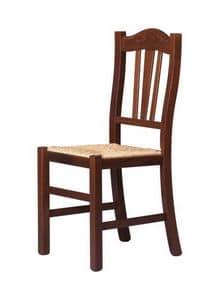 R05, Sedia in legno massiccio, stile rustico, per uso contract