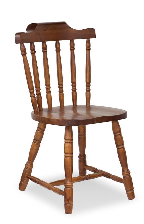 S/104 Old America, Sedia rustica in legno per osteria e locande