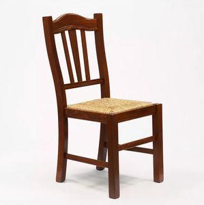 Sedia in legno con seduta impagliata per cucina e sala da pranzo Silvana Paglia SS015PAG, Sedia in arte povera, seduta in paglia