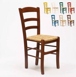 Sedia in legno e seduta impagliata per cucina bar e trattoria rustica Paesana SP001, Sedia rustica, seduta in paglia
