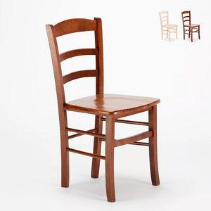 Sedie in legno classiche rustiche per sala da pranzo bar e trattoria Paesana Wood SP003WOD, Sedia in legno, dal design tradizionale