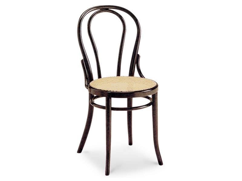 01/CR, Sedia in legno con seduta in canna e schienale ovale