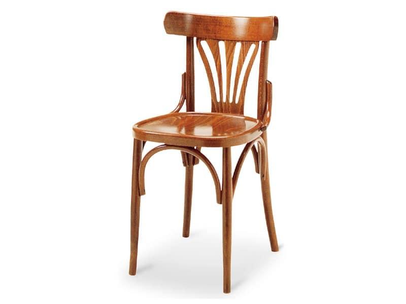 092, Sedia in legno curvato senza braccioli, vecchio stile