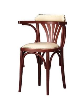 134, Sedia con braccioli, in legno curvato, stile rustico