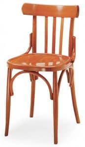 B07, Sedia in legno curvo, schienale a motivo verticale, ideale per bar e pub
