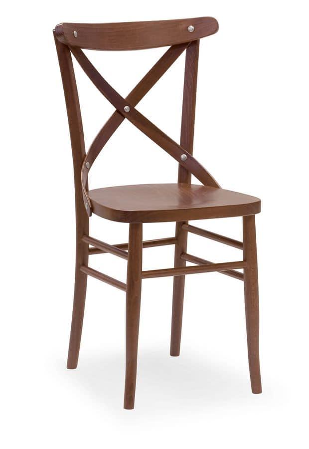 Croce 3, Sedia con struttura in faggio, per ristoranti