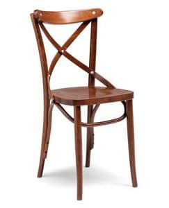 Croce sedile sezionato, Sedia per il contract, in legno curvato