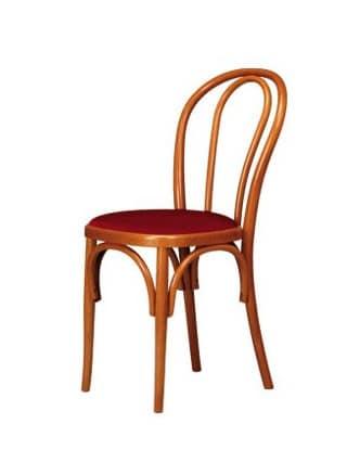 V01, Sedia in legno curvo, seduta imbottita, stile viennese