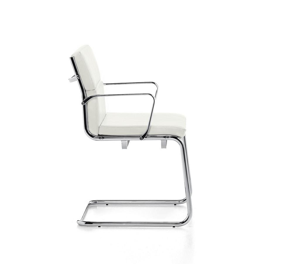 Aalborg Soft 03, Sedia visitatore, tubolare d'acciaio cromato, per ufficio