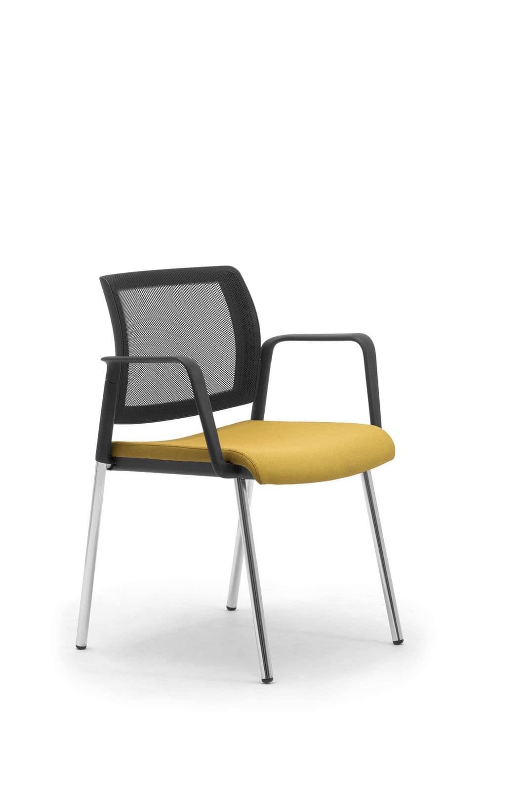 Wiki 4g, Sedia con schienale in rete ideale per ufficio clienti e sale attesa