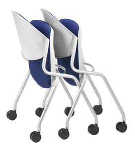 NESTING DELFI 088 R S, Sedia con seduta imbottita pieghevole, gambe con ruote