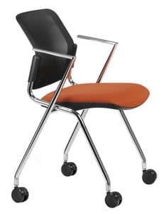 NESTING DELFINET 075 R, Sedia con base e braccioli in metallo cromato, con ruote