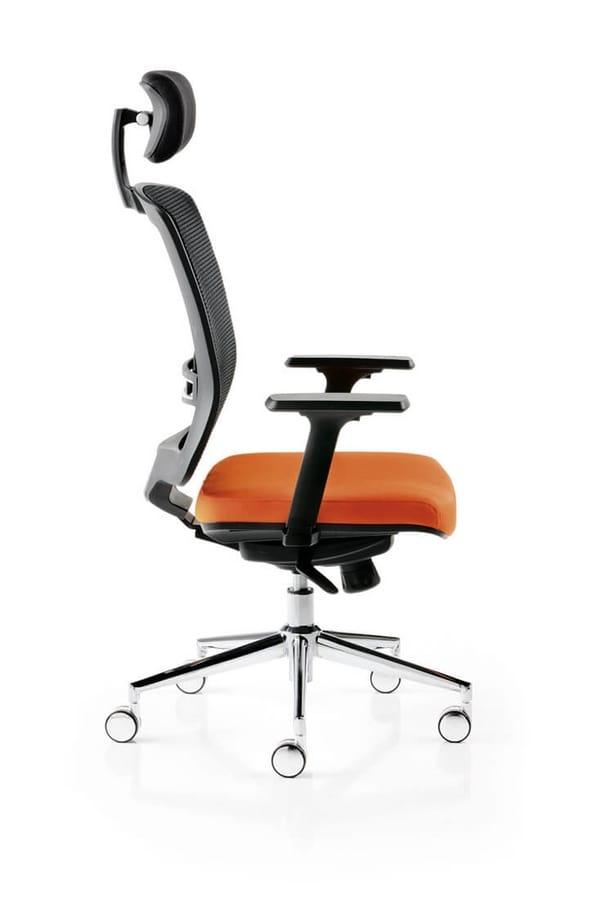 Sedia ufficio in rete, con poggiatesta   IDFdesign