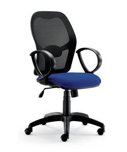 UF 457, Sedia per ufficio, dal nuovo design, con braccioli circolari