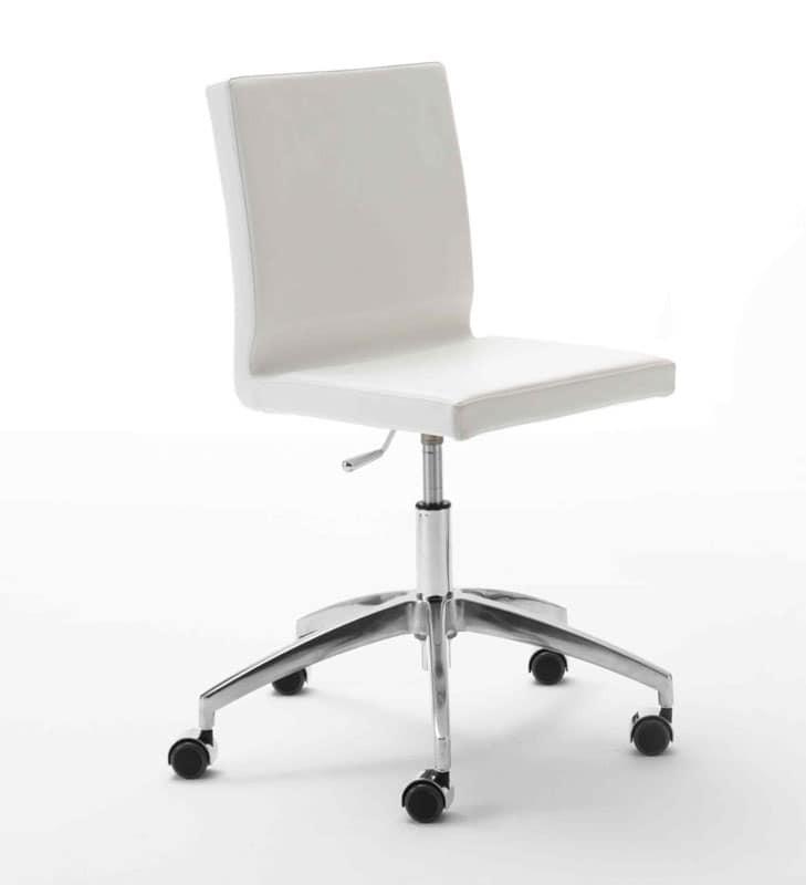 Zip, Sedia operativa per ufficio, base in alluminio, con ruote