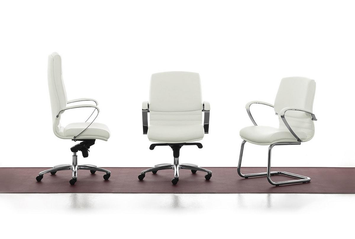 Digital Chrome 01, Sedia direzionale imbottita con schienale alto per ufficio