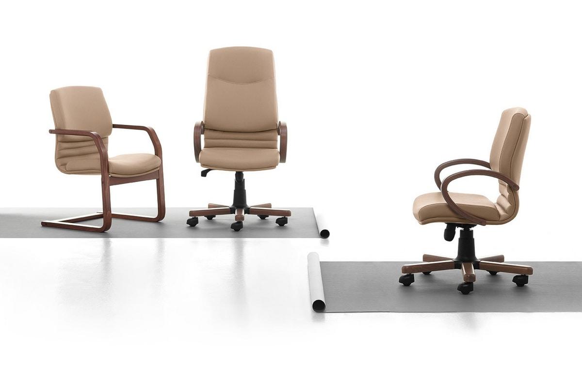 Digital Wood 01, Sedia direzionale con schienale alto, imbottita, per ufficio