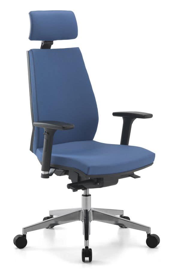 Sedia operativa con schienale alto e poggiatesta, per ...