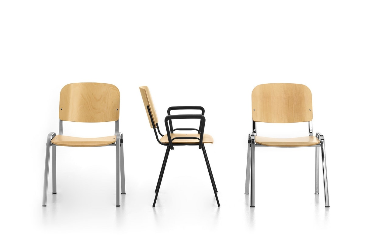 Leo Wood, Sedia impilabile per collettività, in metallo e multistrato