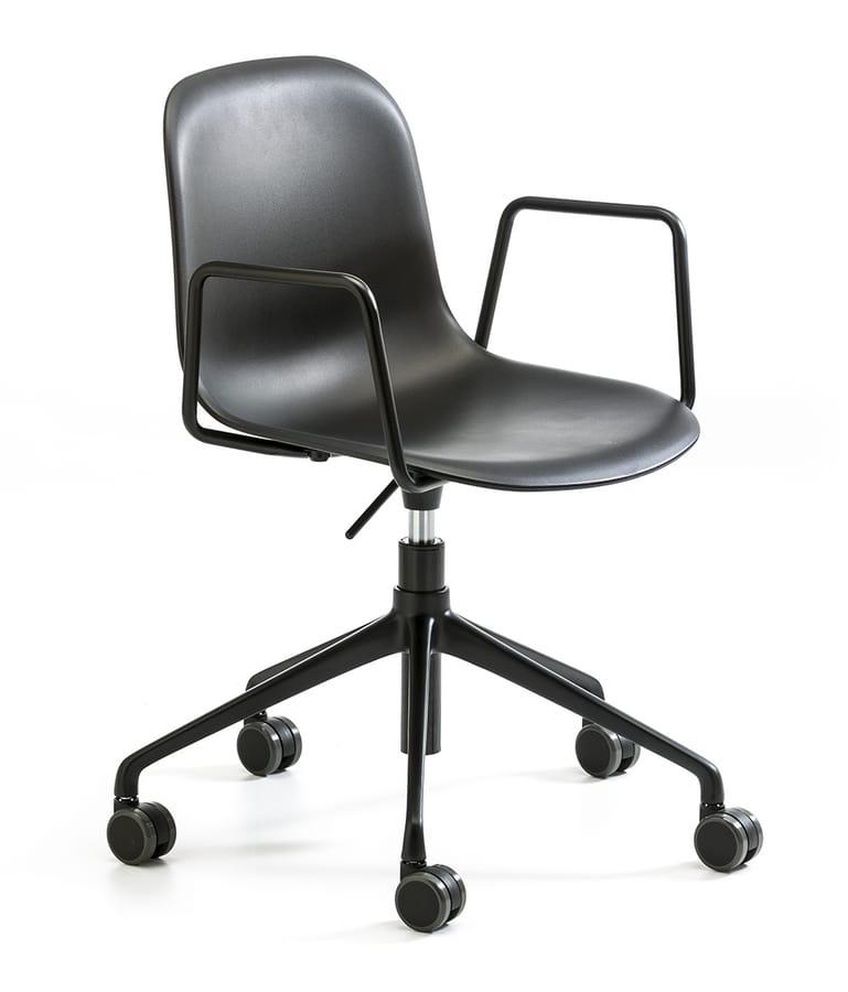 Máni plastic AR HO, Sedia con ruote per ufficio, altezza regolabile