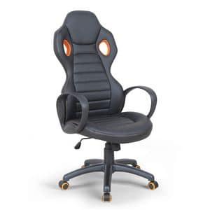 Poltrona presidenziale racing sedia sportiva gaming � SU092RAC, Sedia direzionale in simil-pelle, con braccioli