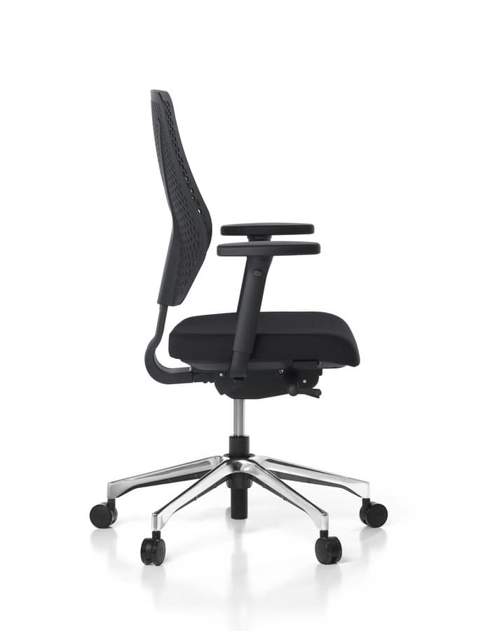 Sedia ufficio con schienale in rete e braccioli regolabili ...