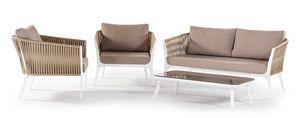 Merida, Set da giardino con poltrone e divano