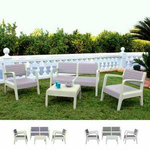Salotto Giardino Resina Bar Tavolino 4 Posti Schienale Rialzato MIAMI, Set da esterni con tavolino e divanetti