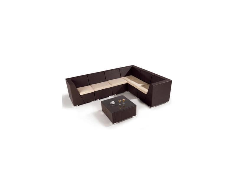 Set Lotus, Divano modulare e tavoli intrecciato per esterno