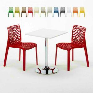 Tavolino Quadrato Bianco 70x70cm Con 2 Sedie Colorate Interno Bar GRUVYER COCKTAIL, Set da giardino con tavolino e sedie