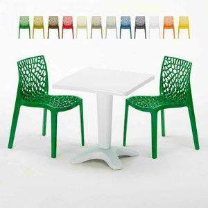 Tavolino Quadrato Bianco 70x70cm Con 2 Sedie Colorate Interno Esterno Bar GRUVYER PATIO, Set da giardino con tavolino e sedie