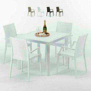 Tavolino Quadrato Bianco 90x90 Con 4 Sedie Esterno Bar ARM BISTROT LOVE, Set da giardino con tavolino e sedie