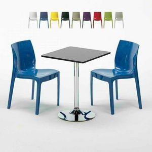 Tavolino Quadrato Nero 70x70cm Con 2 Sedie Colorate Interno Bar ICE MOJITO, Set da esterni con tavolino e sedie impilabili