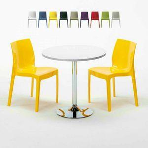 Tavolino Rotondo Bianco 70x70cm Con 2 Sedie Colorate Interno Bar ICE LONG ISLAND, Set da giardino con tavolino e sedie