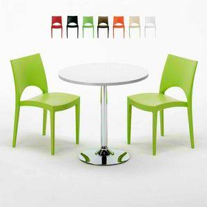 Tavolino Rotondo Bianco 70x70cm Con 2 Sedie Colorate Interno Bar PARIS LONG ISLAND, Set da giardino con tavolino e sedie
