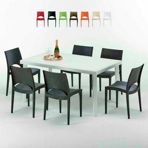 Tavolo Rettangolare Bianco 150x90 Con 6 Sedie Esterno Bar PARIS SUMMERLIFE, Set da giardino con tavolo e 6 sedie