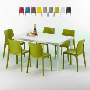 Tavolo Rettangolare Bianco 150x90 Con 6 Sedie Esterno Bar ROME SUMMERLIFE, Set da giardino con tavolo e 6 sedie